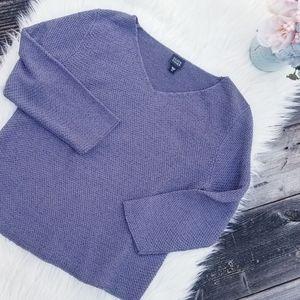 Eileen Fisher purple silk blend V-neck pullover